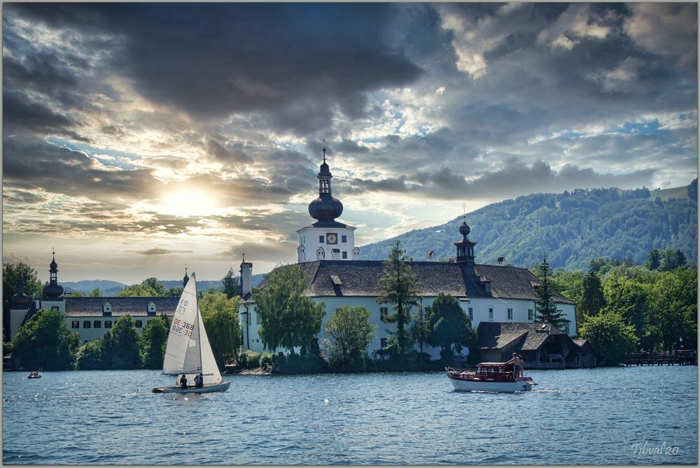 Photo in Random #gmunden #traunsee #boat #tower #water #eve #clouds