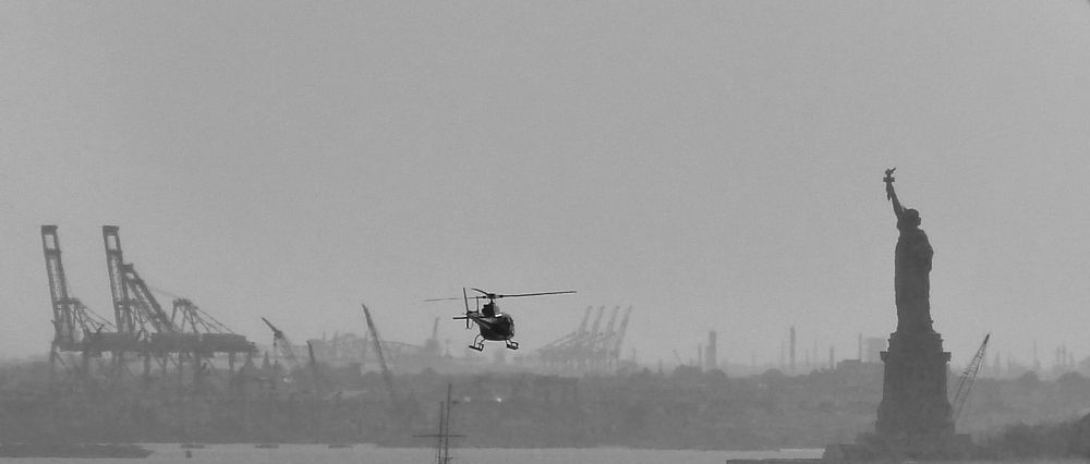 Photo in Random #black & white #statue of liberty #nyc #helicopter