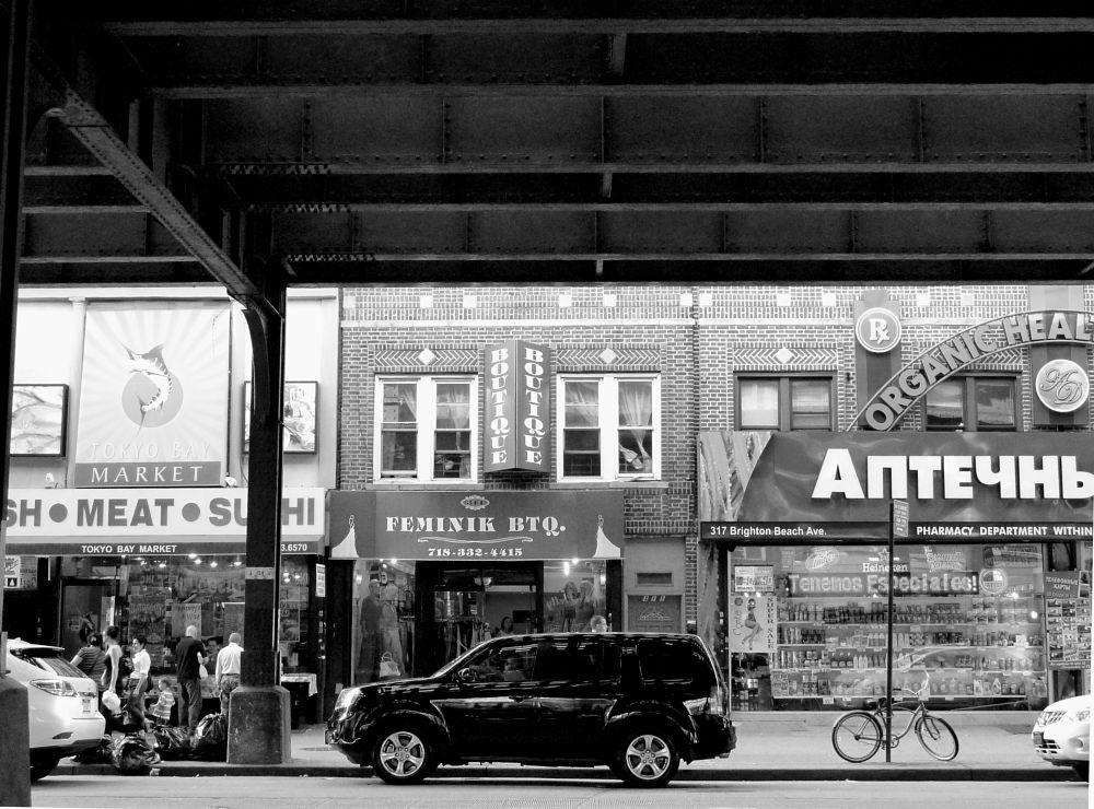 Photo in Random #black & white #street #people #shops #traffic #coney island #brooklyn #new york city #urban