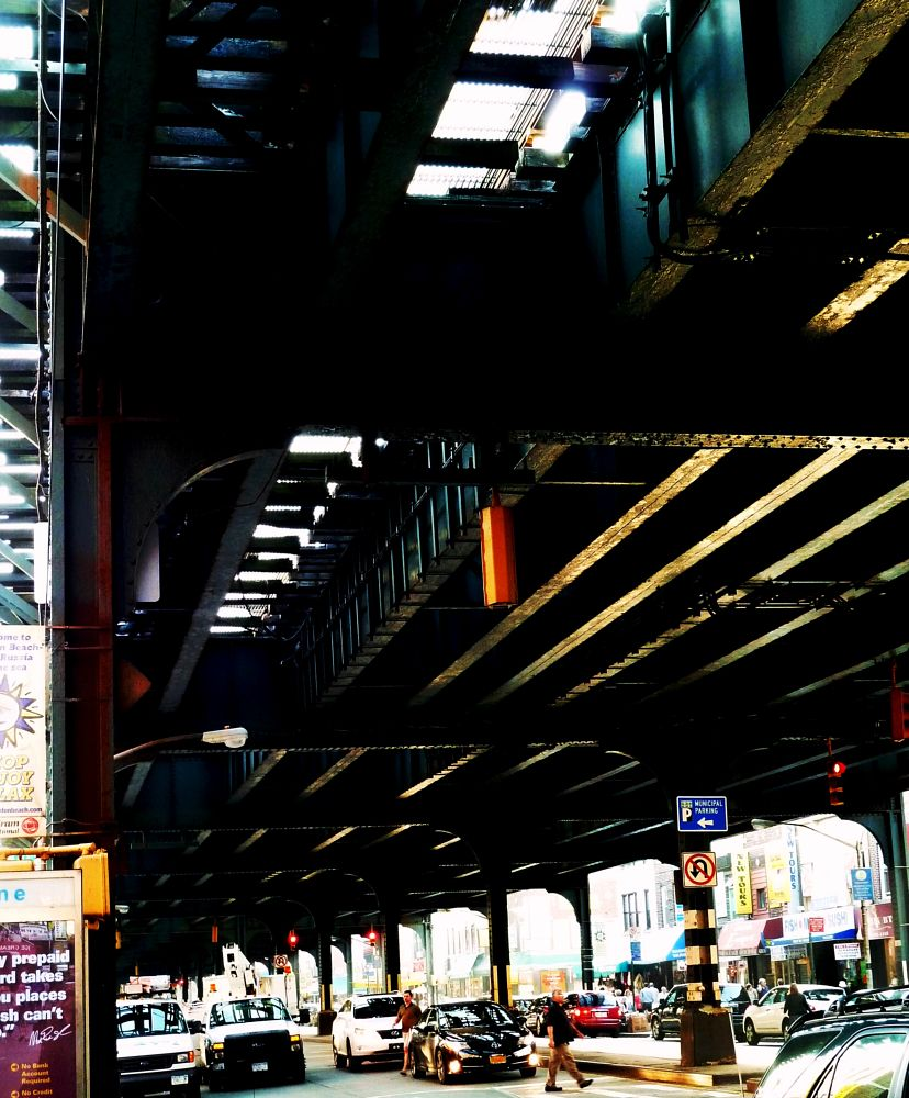 Photo in Random #elevated train tracks #street #urban #people #traffic #shops #brooklyn #new york