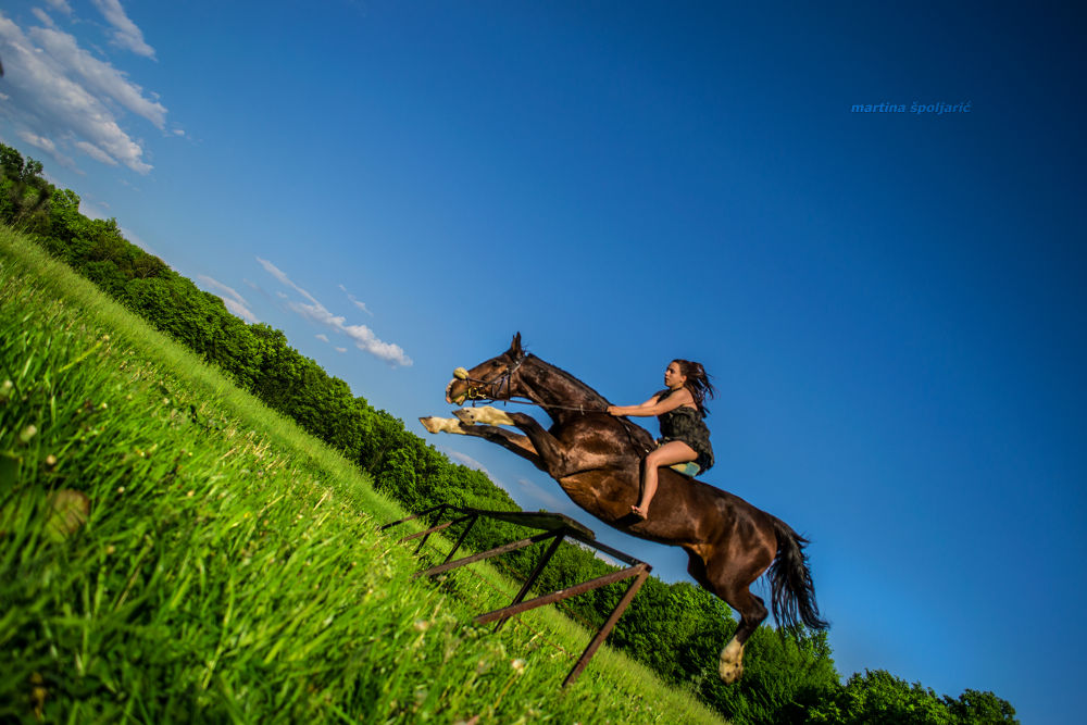 Photo in Sports #sports #horse #girl #jump #jumping #nature #landscape #clouds #sky #animals