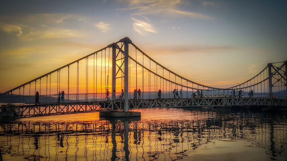 Photo in Random #sunset #sun #life #bridge #sea