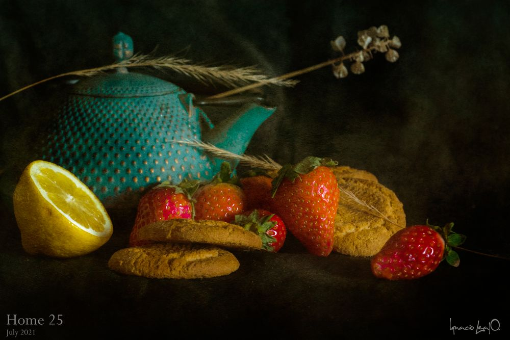 Photo in Still Life #still life #fruits #colorful #classic #strawberries #cookies #lemon #tea #blue #food #sweet #healthy #we #2021 #july