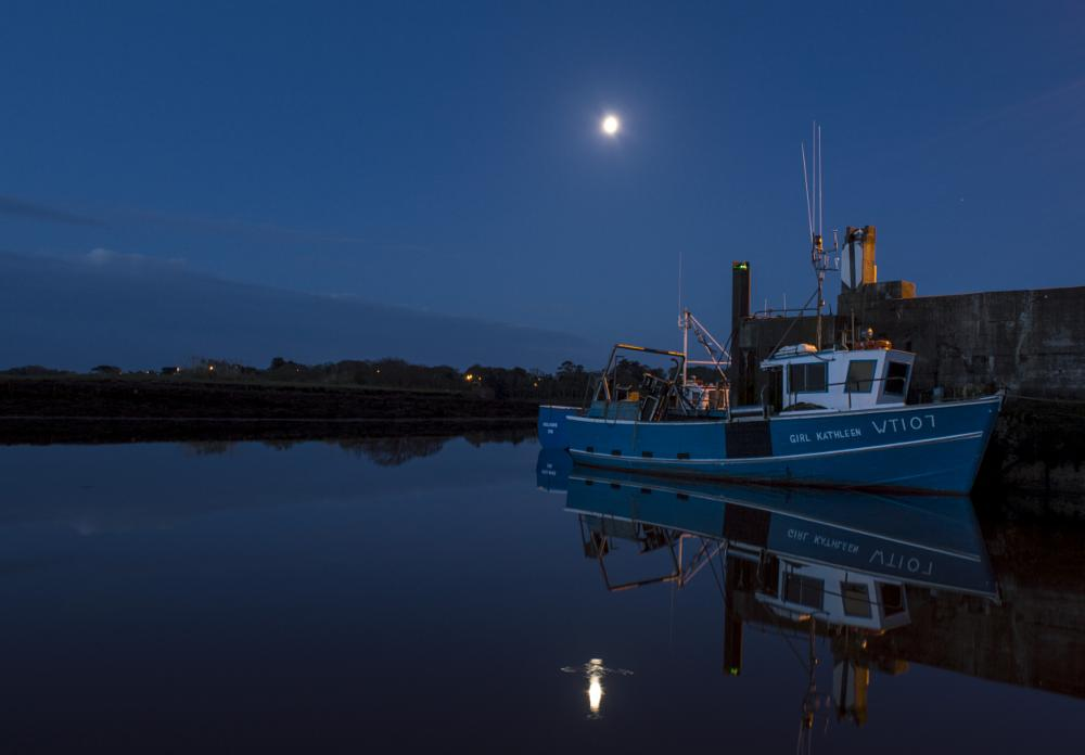 Photo in Landscape #killala #early morning #down #harbour #ship #moon