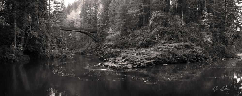 Photo in Landscape #washington #moulton bridge #bridge #monochrome #black #white #landscape #fineart #bjorn burton photography #panoramic #moody #dark #fall #autumn