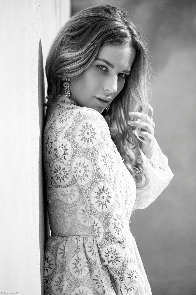 Photo in People #model #woman #people #hair #make-up #styling #dress #jewellery #black and white #fashion
