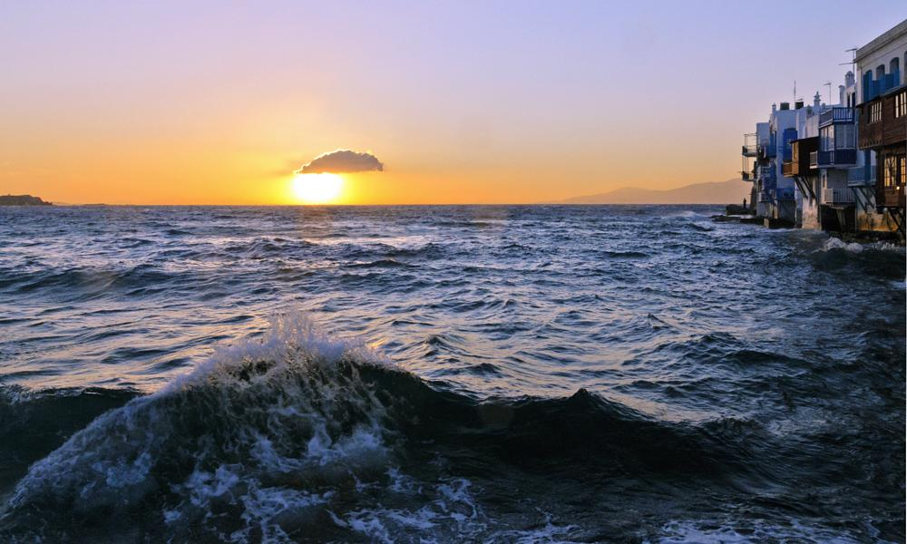 Photo in Landscape #greece #little venice #sunset #see #sun #wave #μύκονος mykonos