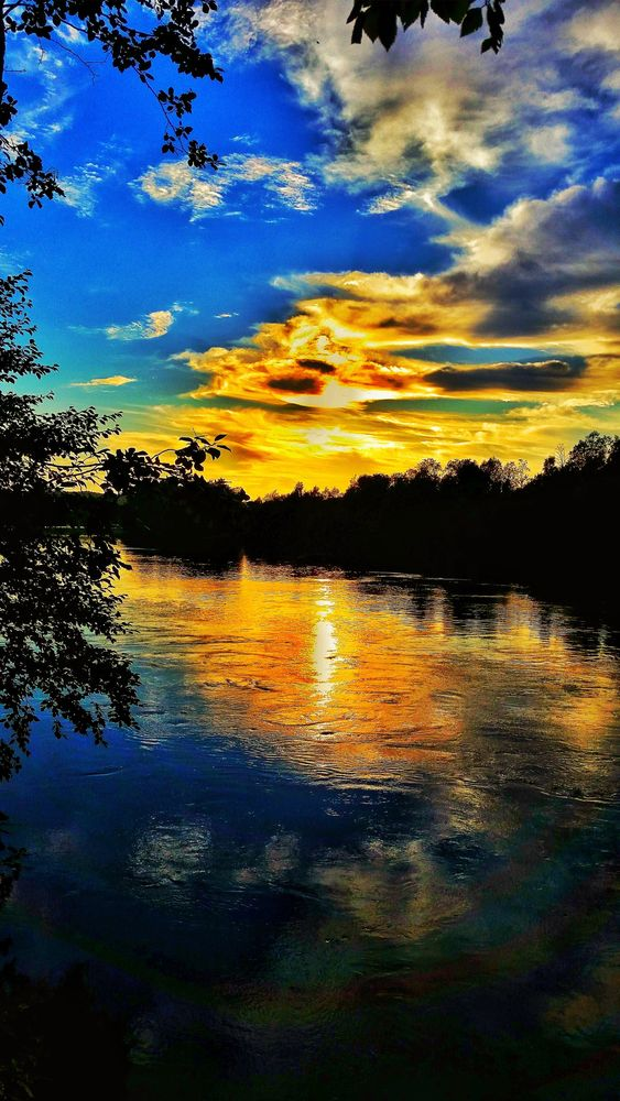 Photo in Nature #sunset #summer #river #reflections #clouds #sky #nature #amazing #peaceful #tranquil