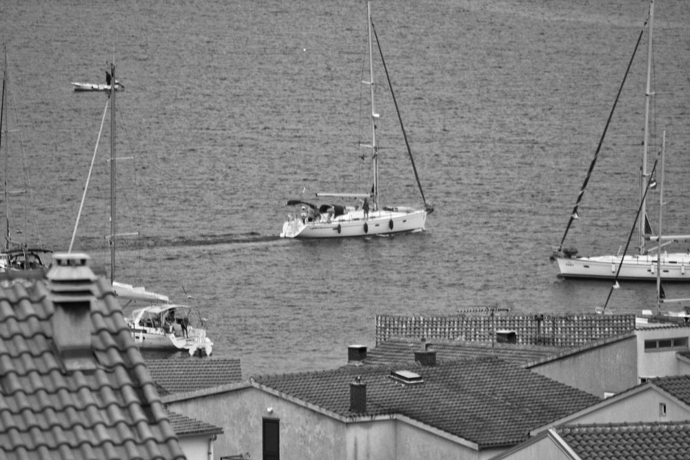 Photo in Black and White #boat #harbour #port #adriatic #roof