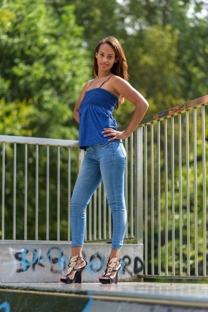 Photo in Portrait #brunette #jeans #body #lips #high heels #park