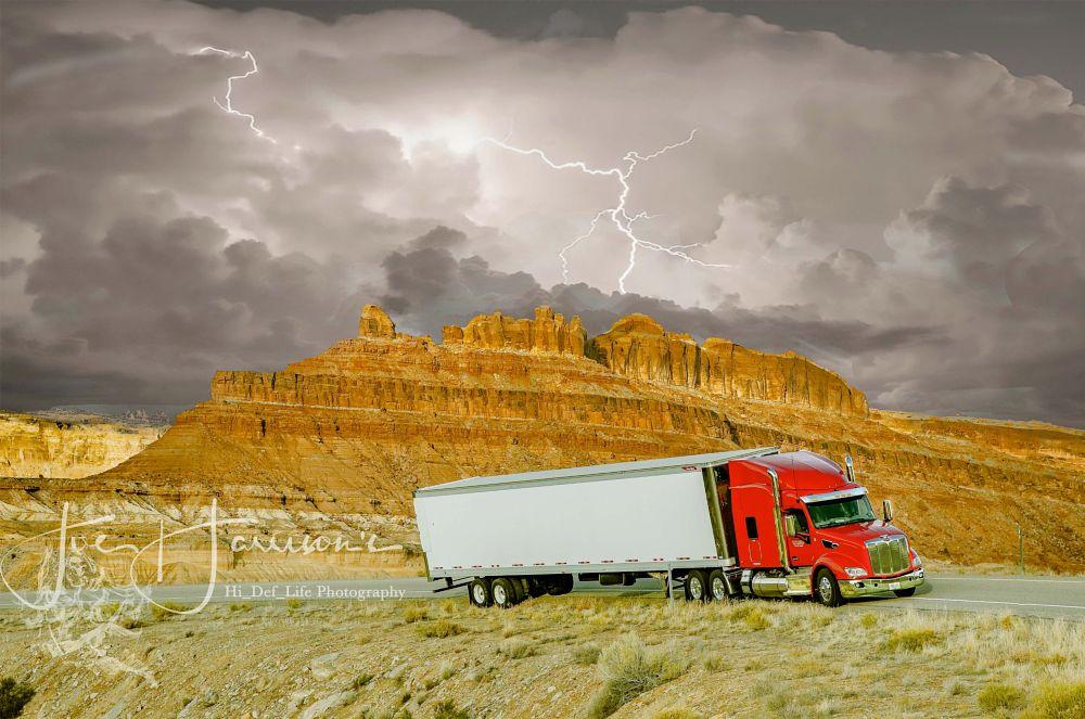 Photo in Landscape #peterbilt #lightning #storm #hi_def_life