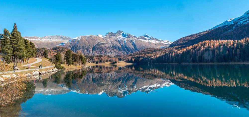 Photo in Random #lake #silvaplana #engadin #switzerland #reflection #autumn #mountains