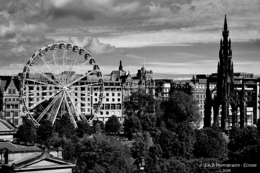 Photo in Black and White #edinburgh #big wheel #scotland