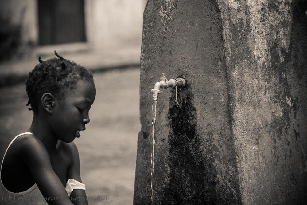 Photo in People #water #girl #african #africa #saotome #blackandwhithe