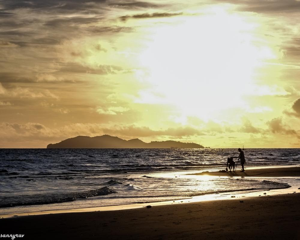 Photo in Landscape #people #beach #sunrise #surf #sand #island #sea #golden