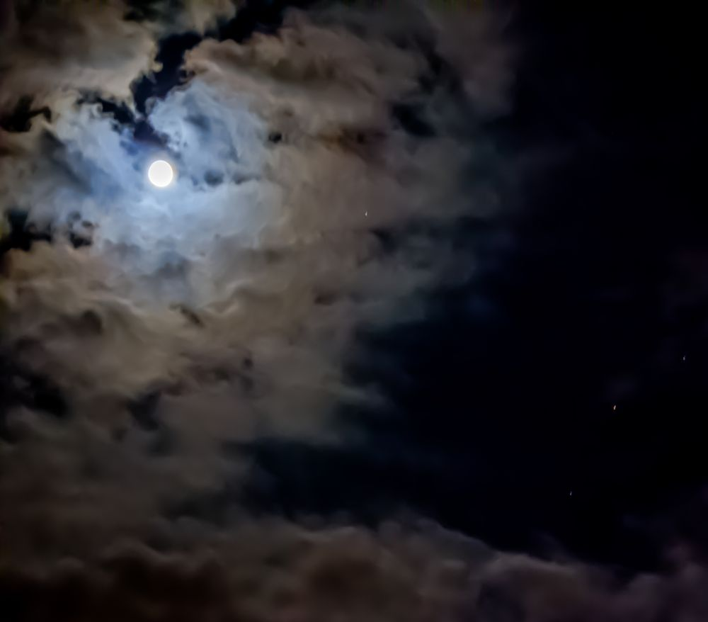 Photo in Nature #cloud #moon #beautiful #sky #night