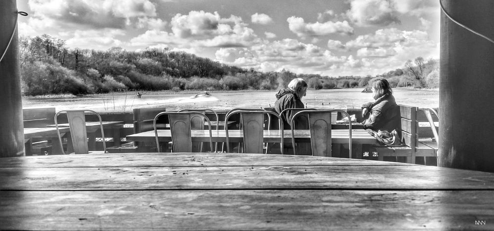 Photo in Black and White #memory #place #wonderful #create #new #lake #read #news #enjoy #sun #boat #sky #perfect place #black & white