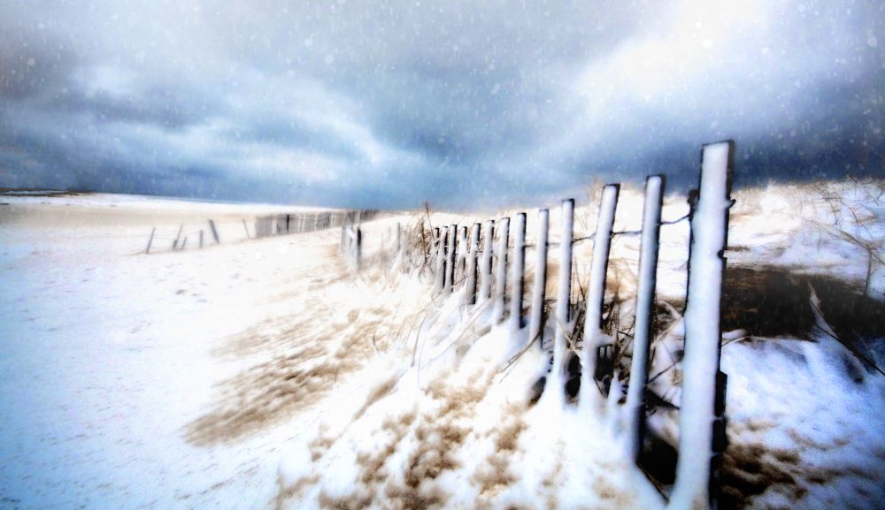 Photo in Travel #cape cod #chatham #storm #beach #snow #fence #ocean #sea