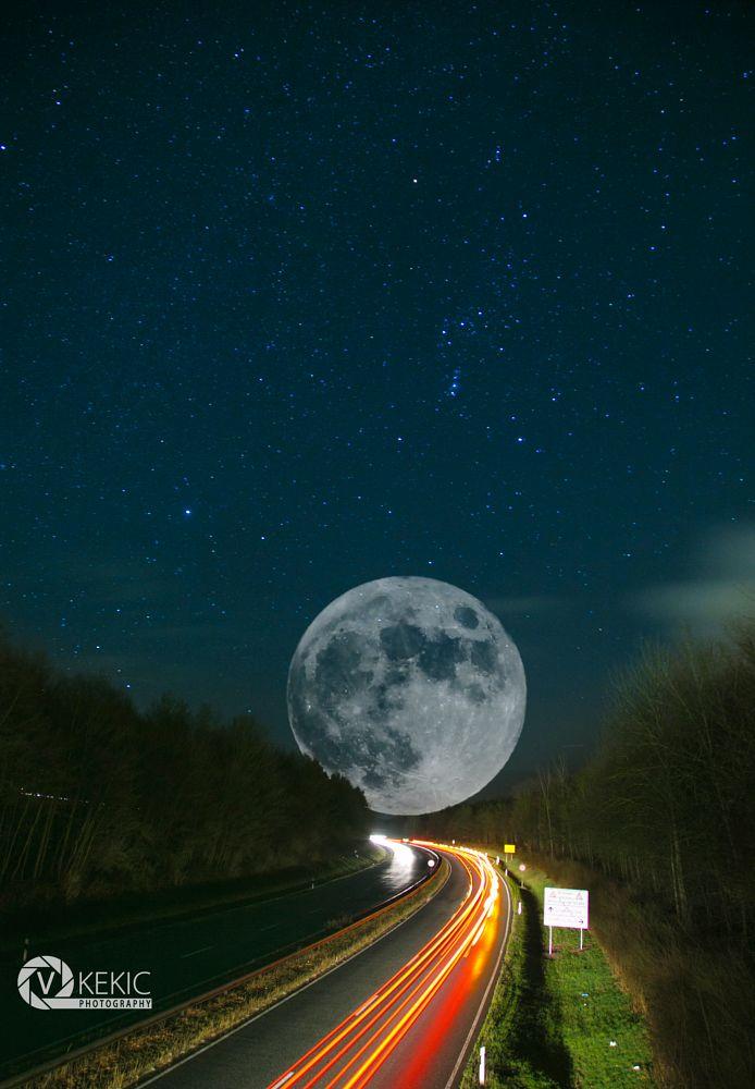 Photo in Cityscape #highway #night #fullmoon #lights #stars #canon