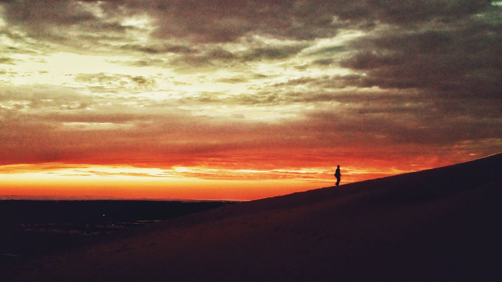 Photo in Landscape #sunset #sunrise #landscape #skyline #beautiful #amazing #twilight #sun #sky #clouds #desert #sahara #man #colors #meditating #lovely #nature