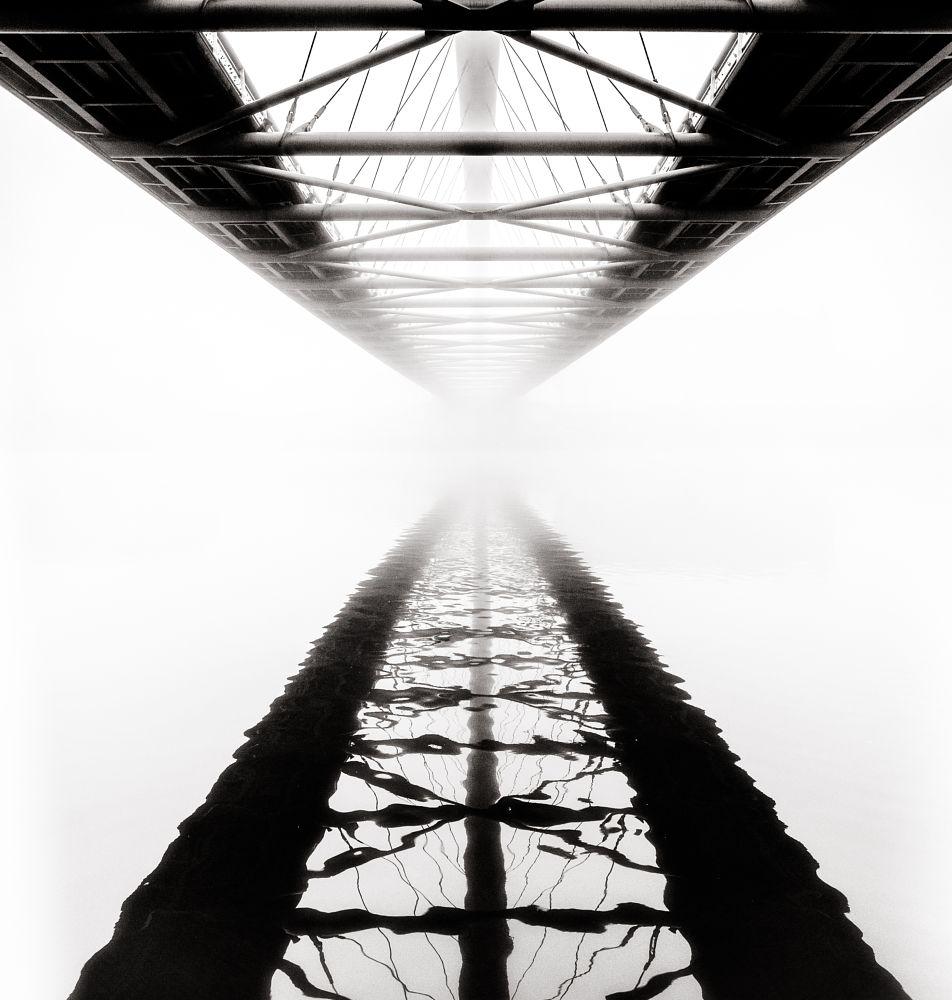 Photo in Architecture #cracow #poland #bridge #kładka ojca bernatka #mist #fog #'hopecontest