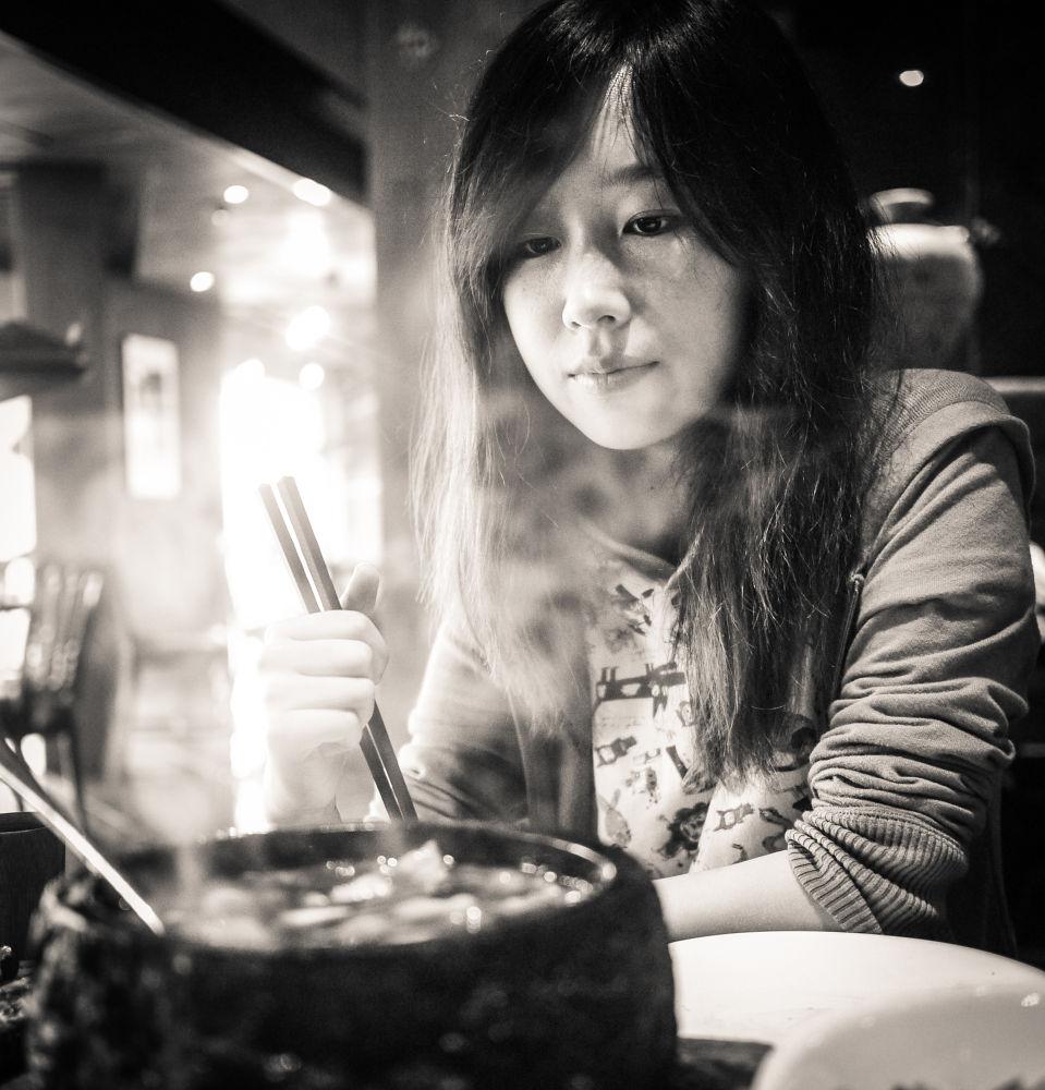 Photo in Food #girl #food #beautiful #pretty #woman #dinner #monochrome #hangzhou