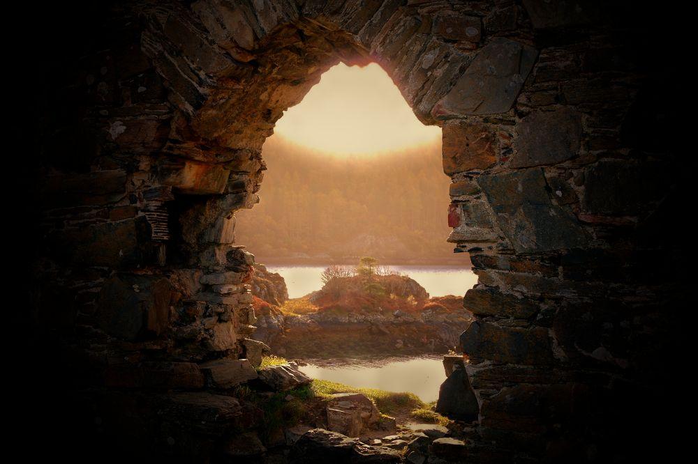 Photo in Random #through the keyhole #wall #castle #loch #autumn #sunrise #sunset #sun