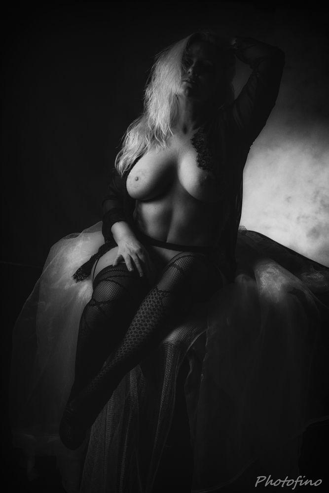 Photo in People #nude #naked #woman #female #sexy #girl #studio #blonde #stockings #lingerie #bed #bedroom #model #danish