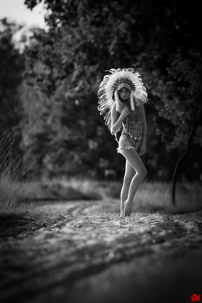 Photo in Black and White #legs #warbonnet #way #sand #girl #model #sexy #nice