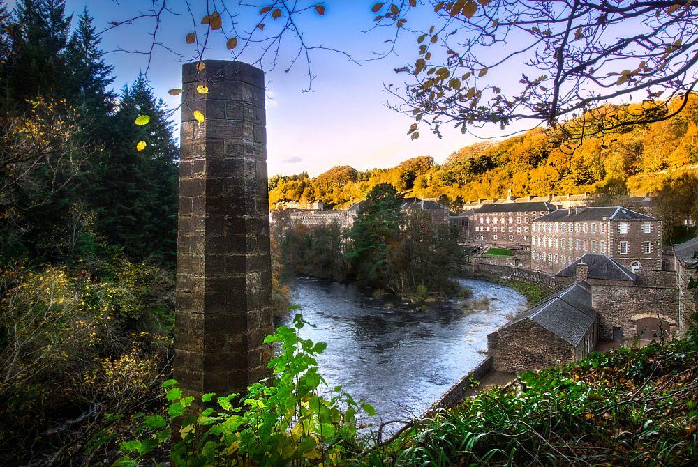 Photo in Random #new lanark #landscape #sunset #river #old buildings #rural #scotland #trees