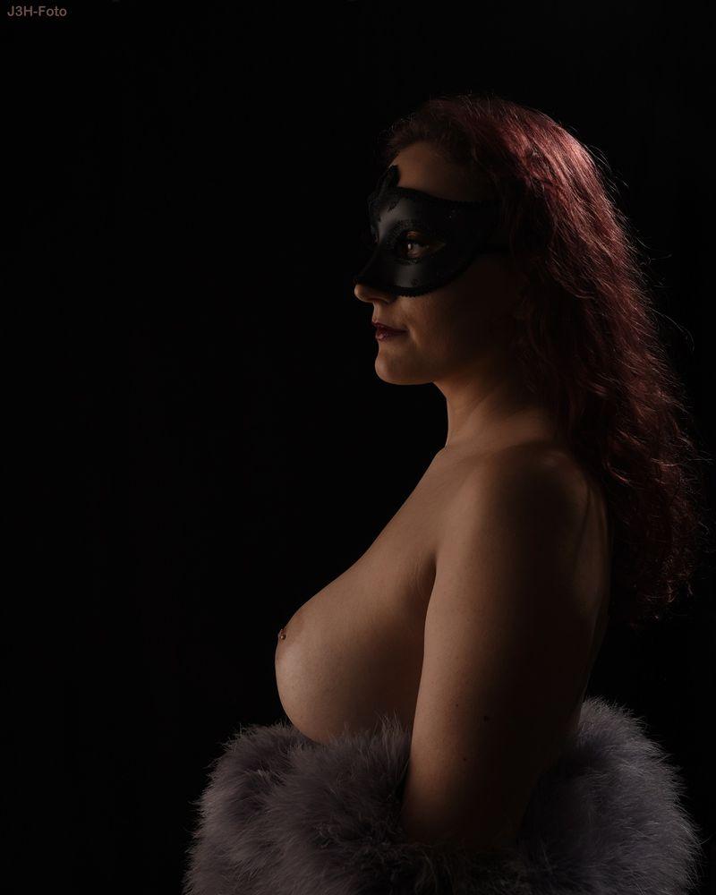 Photo in Nude #danish #female #beauty #model #semi #nude #naked #woman #black #mask #red #hair #breast #nippel #piercing #våbensted #fur