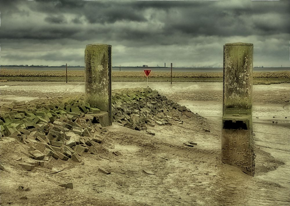 """Photo in Landscape #harbour #mud #""""low tide"""" #red #sign #horizon #sky #clouds"""