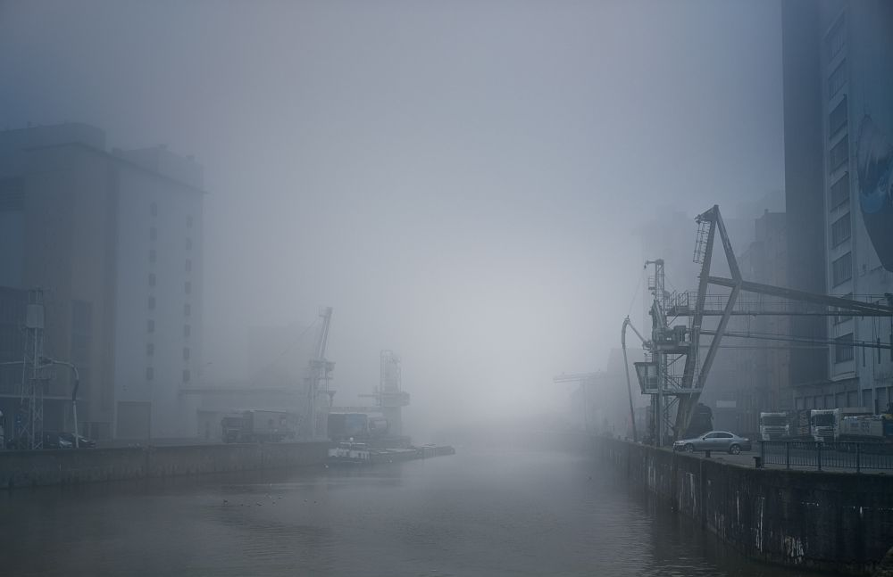 Photo in Cityscape #winter #blue #water #docks #fog #fuji #fujifilm #xe3