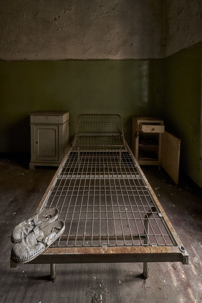 Photo in Random #slippers #bedside tables #bed base #old #urbex #indoor #shadows #natural light