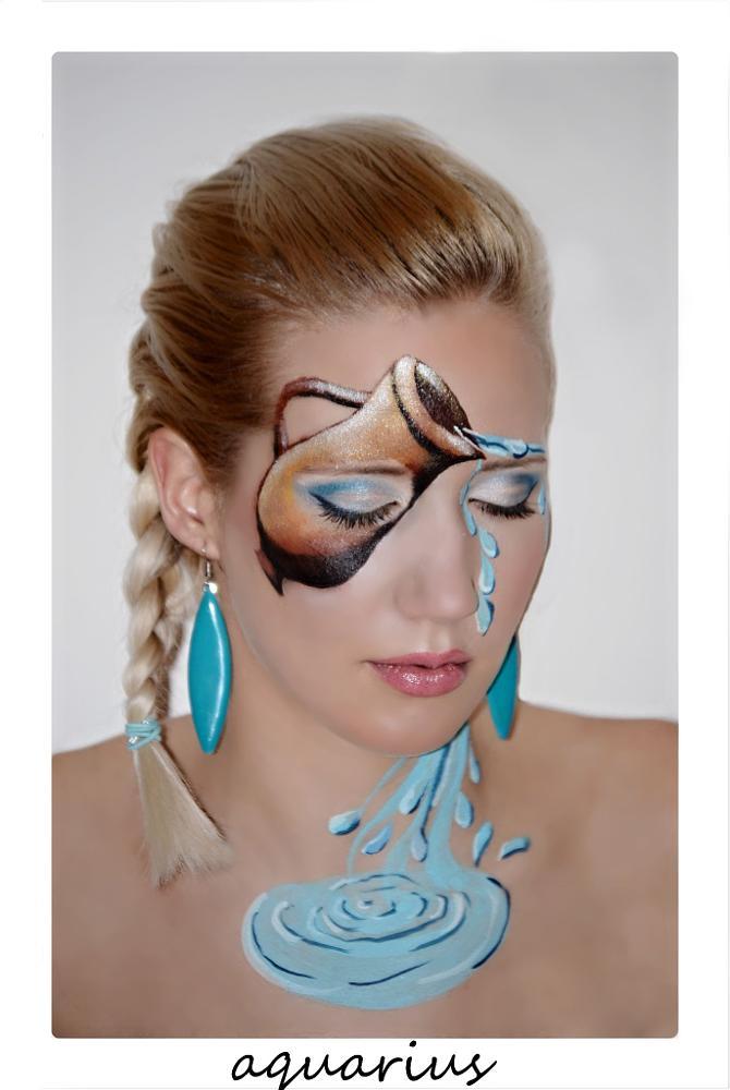 Photo in Portrait #zodiac #women #beauty #makeup #sings #aquarius #portrait #girl #facepaiting #bodypaiting #natural #blonde #girls