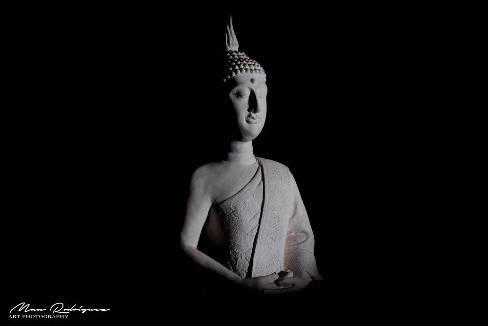Photo in Travel #buddha #mysterious #sculpture #light #low key #nikon #50mm #spiritual #temple #dark #nirvana #smiley