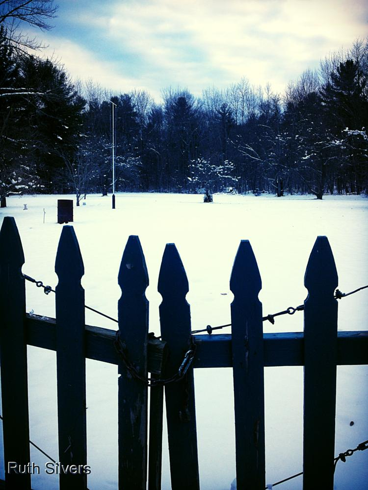 Photo in Rural #blue #winter #landscape #snow #fence
