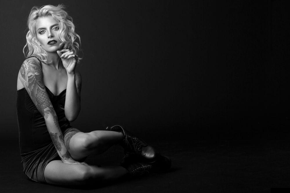 Photo in Portrait #tattoo #woman #girl #b&w #ink #alternative model #model