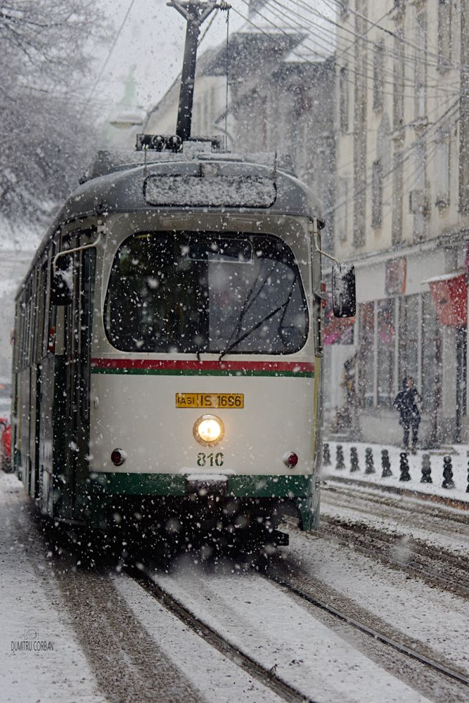 Photo in Street Photography #tram #tramway #snow #snowing #march