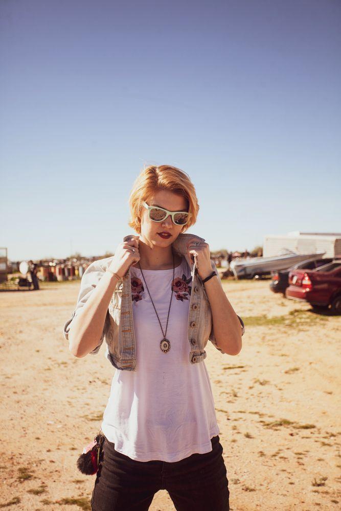 Photo in Portrait #glasses #model #desert #arizona #fashion #style #junkyard #sun #sky #blue #woman #vintage