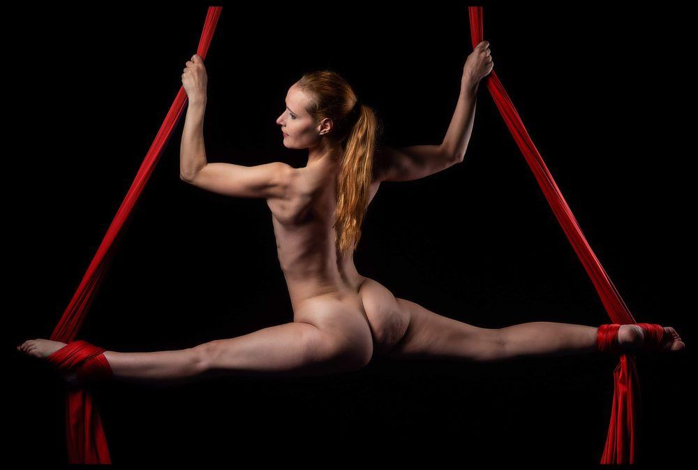 Photo in Aerial #aerial #aerialist #artist #silks #frontsplit #split #nude #nudeart #woman #female #danish #flexible #redhead #muscle #body #legs