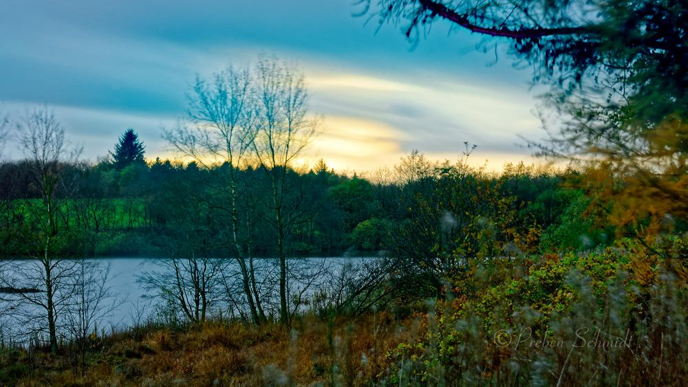 Photo in Landscape #autumn #clouds #field #forest #lake #long exposure #nature #overcast #sky #sunset #trees #water