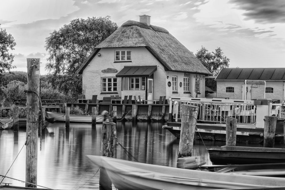 Photo in Black and White #café #ferry #water #harbor #dinghies #houses #trees #black & white #landscape
