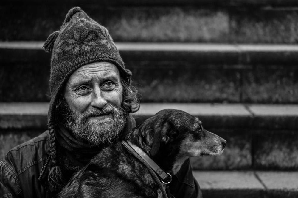 Photo in People #dog #man #6d #70-200 f4 #london #homeless