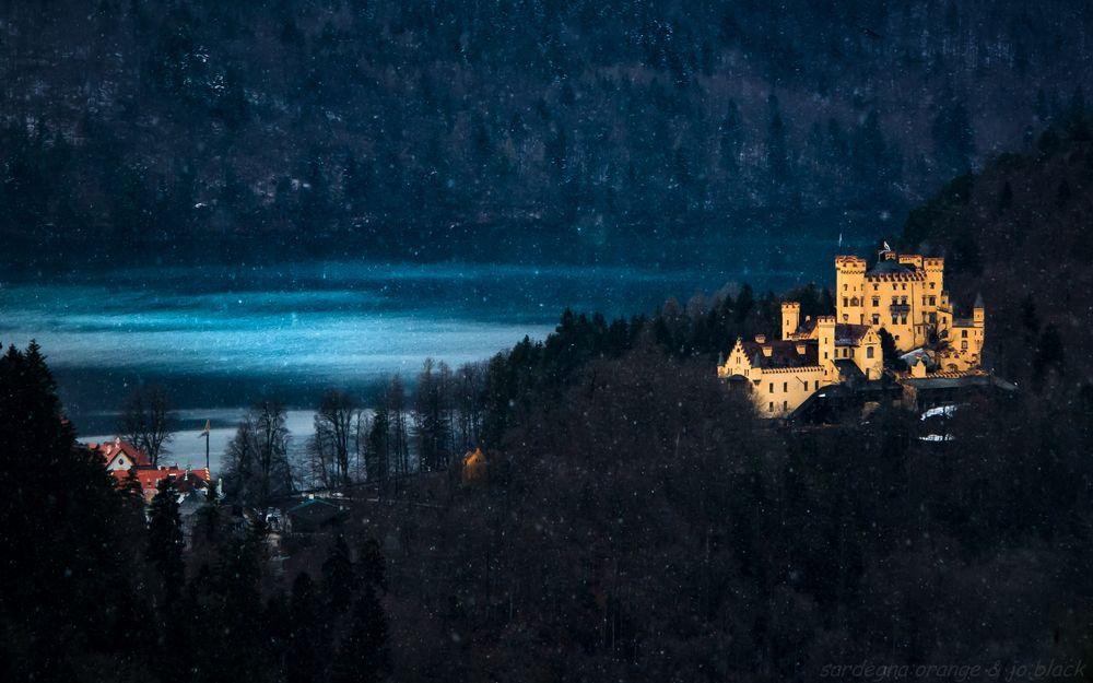 Photo in Landscape #hohenschwangau #alpsee #schwangau #allgäu #füssen #castle #lake #snow #snowflakes