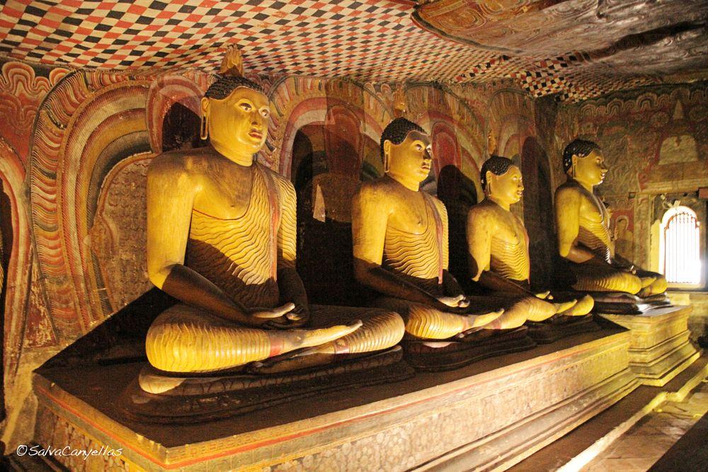 Photo in Random #room #frescoed #sitting buddhas #cave monastery #five sanctuaries #cave-temple complex #statues #buddhist mural paintings #golden temple #dambulla #sri lanka