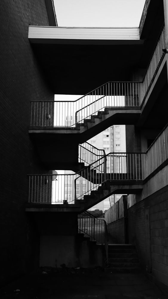 Photo in Random #black and white #stairs #mono #monochrome #urban photography #urban #cities #architecture #amateur #lines #light