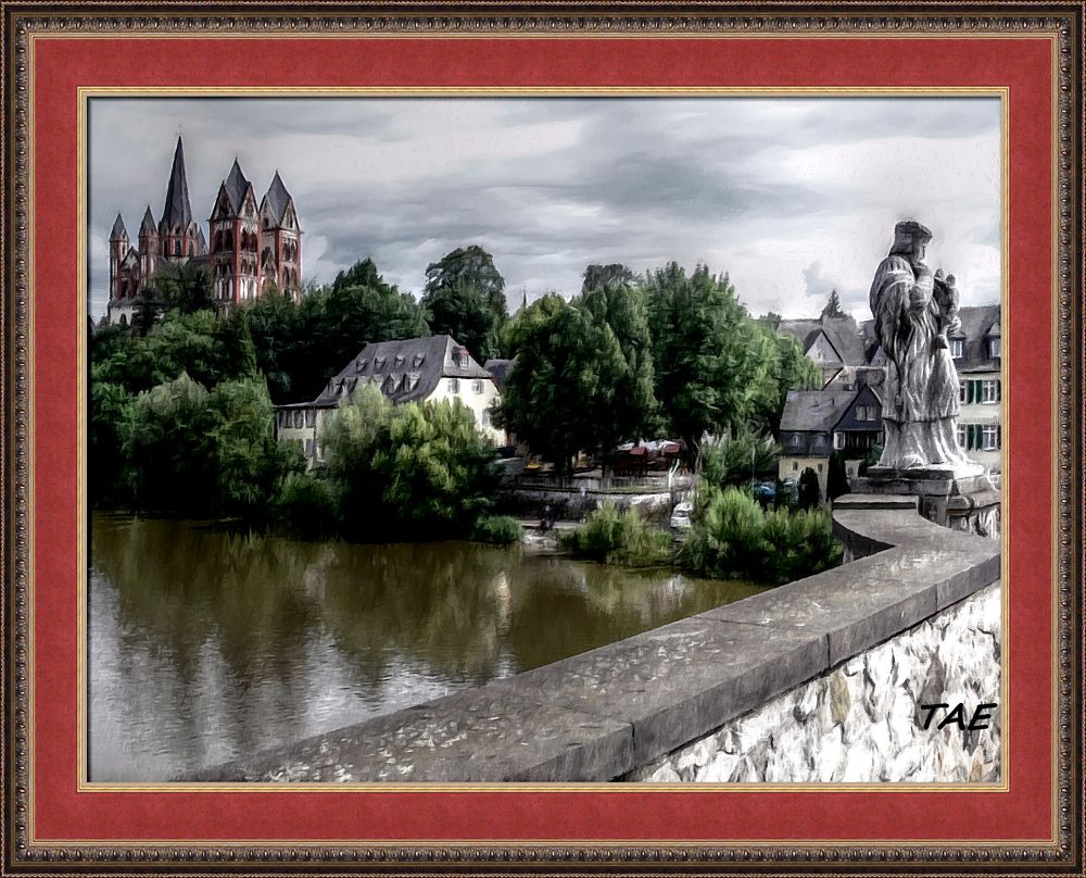 Photo in Random #art #oil #painting #river #bridge #statue #red #germany #cathedral #fine #dom #canvas #limburg #lahn