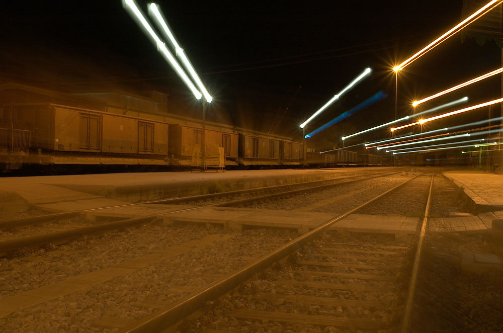 Photo in Landscape #lights #night #landscape #railway #greece #volos #thessaly
