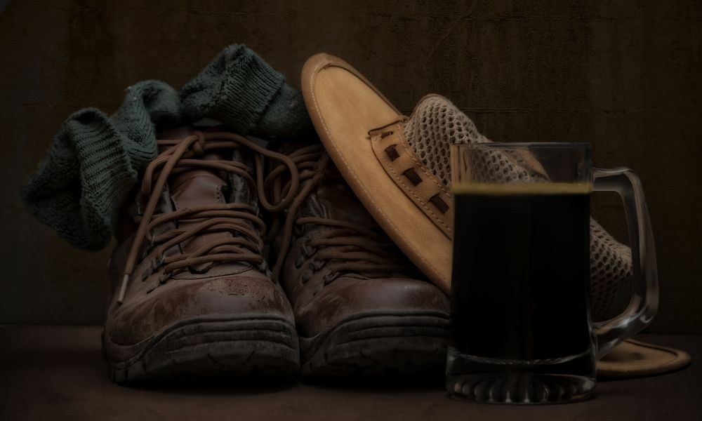 Photo in Still Life #boots #hat #socks #walking #hike #beer #drink #pint #glass